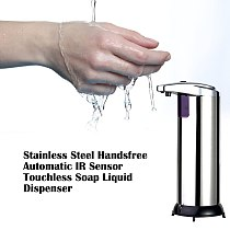 Automatic Foam Soap Dispenser Sensor for Liquid Touchless Stainless Steel 280ML Home Eco-Friendly Hands Free Metal Silver& Black