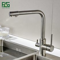 FLG Water Filter Kitchen Faucet Brushed Nickel Tap 360 Rotation with Water Purification Features Taps For Drinking Kitchen Mixer