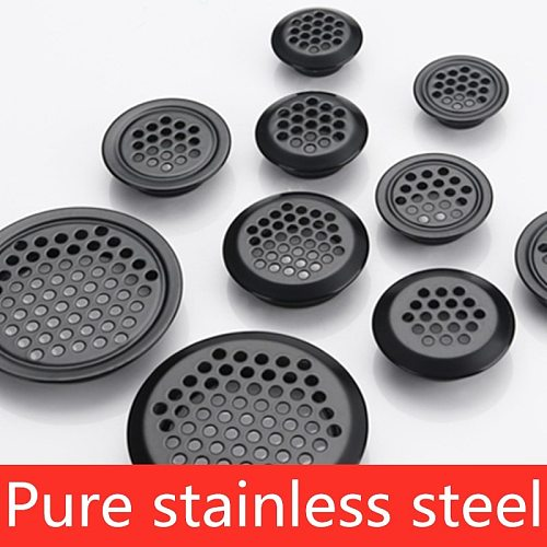 10pcs Wardrobe Cabinet Mesh Hole Black Air Vent Louver Ventilation Cover Stainless Steel Black  Cupboard air vent pest control