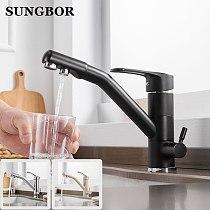 Dual function 3 way water filter Black kitchen faucet marble pure water kitchen faucet 3 way function filler Kitchen Faucet