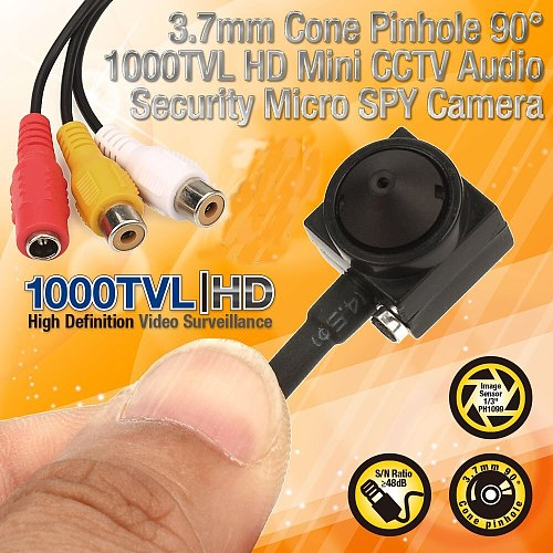 Uvusee CCTV 1/3 Sony CCD 1000TVL 3.7mm wider angle HD Mini Security Surveillance Camera with audio Microphone Mic