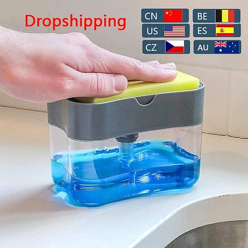 Soap Pump Dispenser with Sponge Holder Cleaning Liquid Dispenser Container Manual Press Soap Organizer Kitchen Cleaner Tool^^
