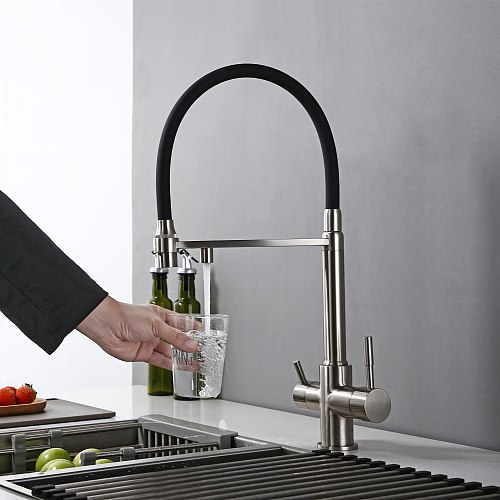 Reverse Osmosis Tri Flow 3-in-1 Faucet 3 Way Water Filter Kitchen Tap In Stainless Steel