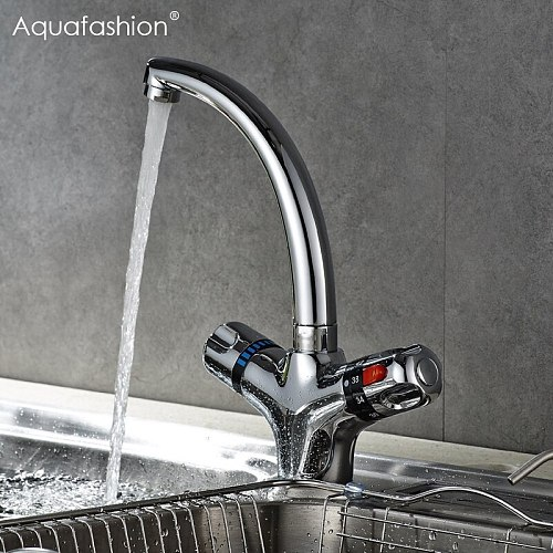 Thermostatic Faucet Kitchen Mixer Tap Flexible Swivel Spout Kitchen Faucets Hot and Cold Thermostatic Water Faucet