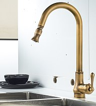 Pull Out Hot and Cold Water Tap Europe Antique Brass Mixer Sink Swivel 360 Degree Mixer Pull Down Kitchen Faucets Single Hole