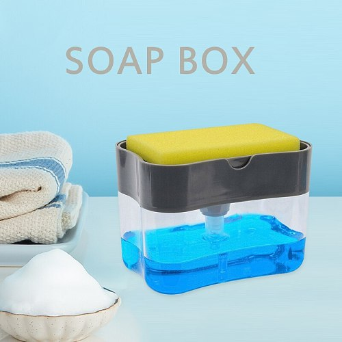 Soap Pump Dispenser With Sponge Holder Cleaning Liquid Dispenser Container Manual Press Soap Organizer For Kitchen Cleaner Tool
