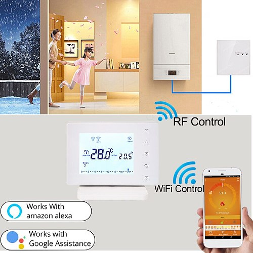 Vancoo Wifi & RF Gas Boiler Heating Thermostat 220V 3A Underfloor Smart Home Wireless Hot Water Controller for Google Home Alexa
