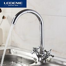 LEDEME Kitchen Faucet Chrome plated J Letter Design 360 Degree Rotation with Water Purification Features Double Handle L4311-2