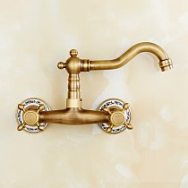 Antique Brass Kitchen Faucet Wall Mounted Mixer Tap Hot And Cold Water Mixer Tap Double Holes Rotatable Kitchen Sink Mixer Tap
