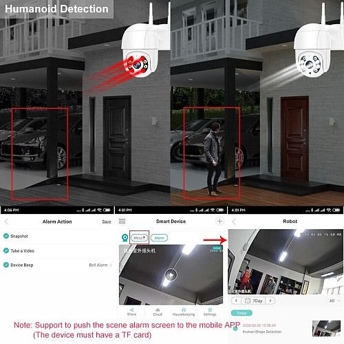 Smar Super HD 5MP 3MP Wireless PTZ Camera Outdoor H.265 Auto Tracking WIFI IP Camera 4X Digital Zoom AI Human Detection ICSEE