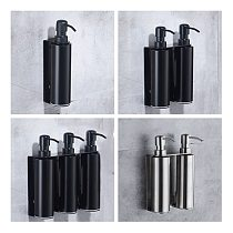 LIUYUE Soap Lotion Dispensers Black/Brushed Stainless Steel Wall Mount Bathroom Kitchen Round Bottle Sink Soap Lotion Dispenser