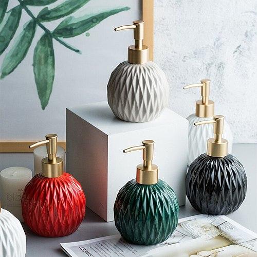 400ml Ceramic Liquid Soap Dispenser Creative Round Pressing Type Soap Bottle Bath Shower Liquid Bottle Bathroom hardware