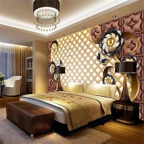 beibehang Custom wallpaper large luxury black dahlia soft bag jewelry living room bedroom sofa TV background wall wallpaper