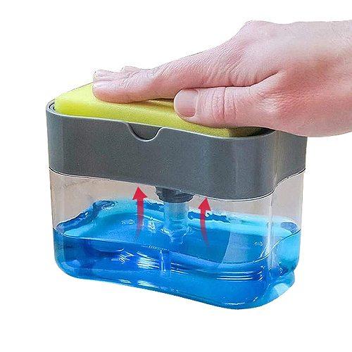 Dish Soap Dispenser for Kitchen,Liquid Soap Dispenser,Kitchen Soap Dispenser with Sponge Holder,Sponge Caddy,Soap Pump Dispenser