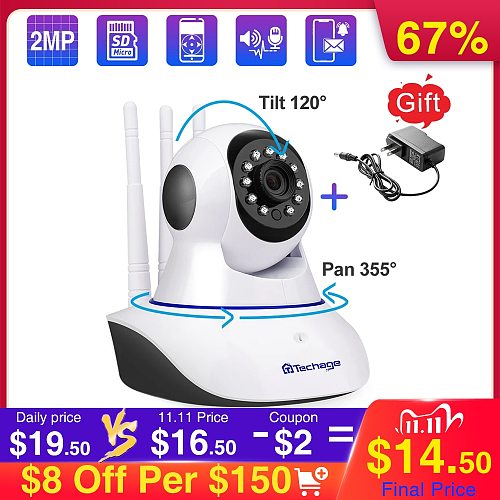 Techage 1080P Wireless IP Camera Baby Monitor Dome Indoor 2-Way Audio Video CCTV Wifi PT Camera Security Surveillance P2P Alert