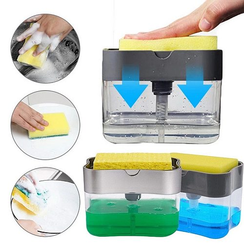 2-in-1 Soap Pump Dispenser With Sponge Holder Cleaning Liquid Dispenser Container Hand Press Soap Organizer Kitchen Cleaner Tool