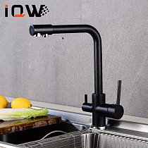 Kitchen Faucet 360 Degree Rotation Filtered Water Double Handle  Kitchen Sink Tap Hot And Cold Water Mixer
