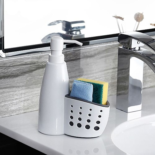 Bathroom Storage Two In One Storage Box Multifunction Liquid Detergent Drainboard Soap Holder Cleaning For Kitchen Bathroom Tool