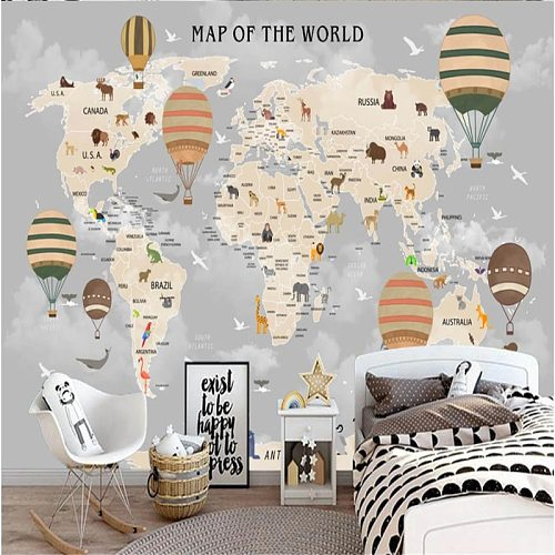 Custom Size Children's Room Wall Paper 3D Cartoon World Map Background Wall Papers Home Decor 3D Mural Wallpaper for Kids Room