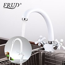 FRUD White Spray Painting Kitchen Sink Faucet Cold and Hot Water Mixer Tap Double Handle 360 Rotation
