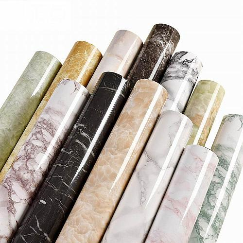 60cm x 1M Self adhesive Marble Vinyl Wallpaper Roll Furniture Decorative Waterproof Wall Stickers Kitchen Backsplash Home Decor