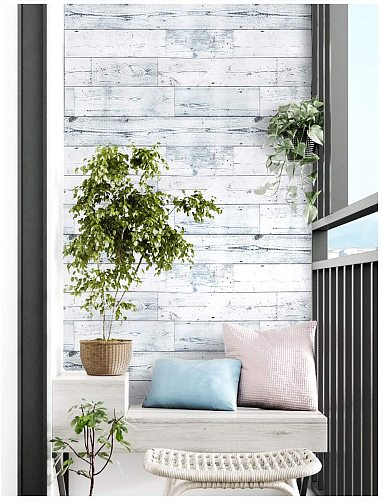 LUCKYYJ Peel and Stick Wood Wallpaper Shiplap Light Grey/White Distressed Wood Plank Removable Self-Adhesive Wallpaper Sticker