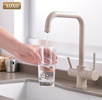 XOXO Filter Kitchen Faucet Drinking Water Blcak Deck Mounted Mixer Tap 360 Rotation Brass Pure Filter Kitchen Sinks Taps 81028