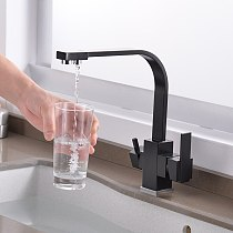 ROVATE Black Filtered Kitchen Faucet 3 Way Drinking Kitchen Water Filter Tap Cold and Hot Sink faucet