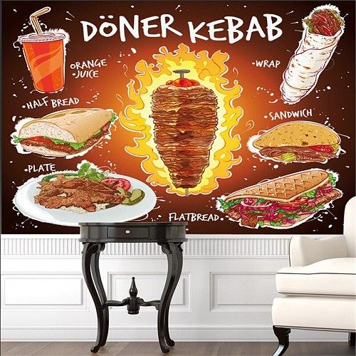 Custom Hand Drawn 3D Doner Kebab Flat Bread Sandwich Plate with Orange Juice Mural Wallpaper Fast Food Restaurant Wall Paper 3D