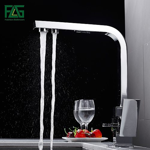 FLG Square Kitchen Faucets Brass Tap 360 Degree Rotation with Water Purification Features Mixer Taps Faucet For Kitchen 1024-33C