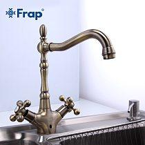 Frap Kitchen Faucets Antique Brass Bathroom Sink Faucet Spout Double Cross Handle 360 Degree Swivel Bath Basin Mixer Tap F4019-4