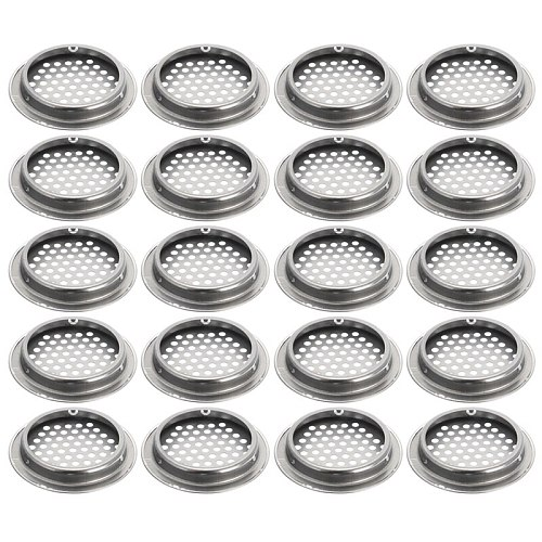 20pcs Air Vent Grille Cupboard Exhaust Ventilation Grille Set Stainless Steel Slotted Grille For Wardrobe Air Circulation Parts