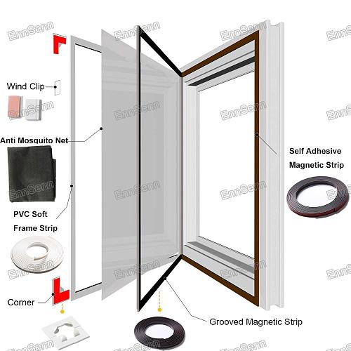 Custom Made DIY Magnetic Window Screen Accessories,Invisible Fly Mosquito Screen Net Mesh, Removable&Washable