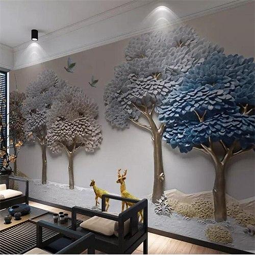beibehang Custom wallpaper 3D murals embossed fortune tree elk TV background wall papers home decor papel de parede 3d wallpaper