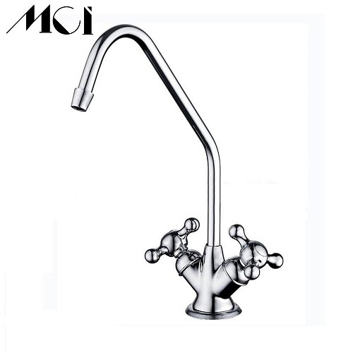 Brass 1/4  Chrome Finish Reverse Osmosis RO Drinking Water Filter Faucet Double Handle Core Gooseneck Water Purifier Faucet Mci