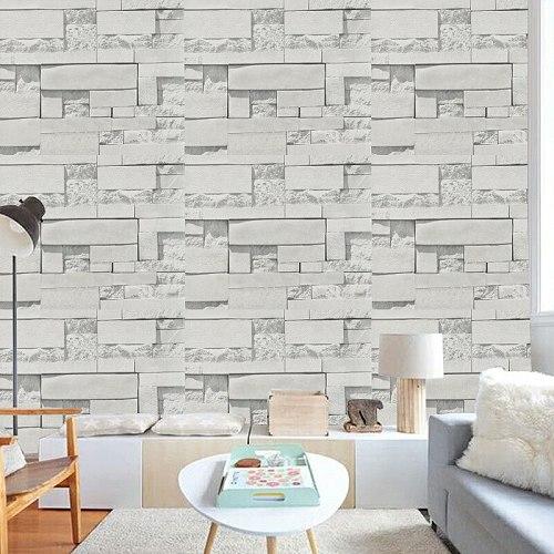 Modern Gray Brick Auspicious Wallpaper 3D PVC Waterproof Self Adhesive Wall Paper Living Room bedroom TV Background Wall Decor