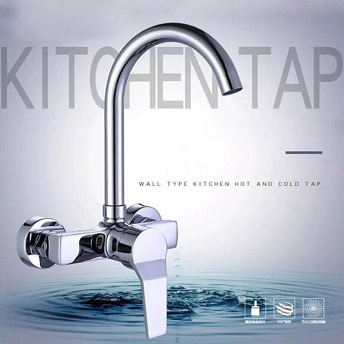 360 Degree Swivel Kitchen In-wall Cold Hot Single Hole Water Sink Faucets Modern Wall Bathroom Clothes Washing Pool Faucet