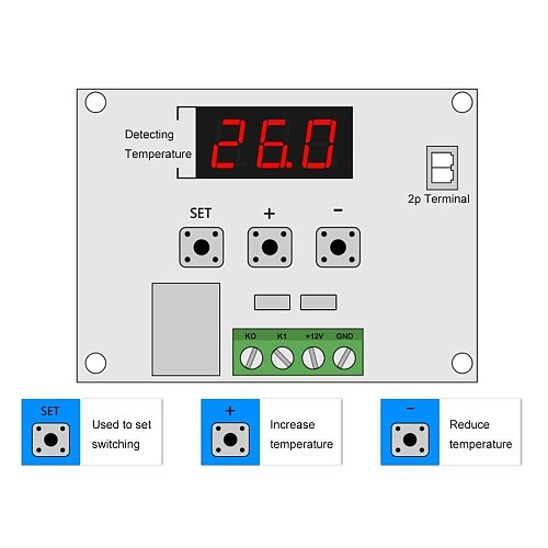Temperature Controller Module with Case, 2PCS XH W1209 Display Digital Thermostat Module with Waterproof NTC Probe