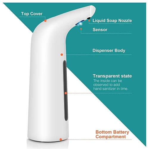 400ML Automatic Infrared Induction Soap Dispenser Intelligent Sensor Touchless Auto Hand Washing Home Office Bathroom Wash
