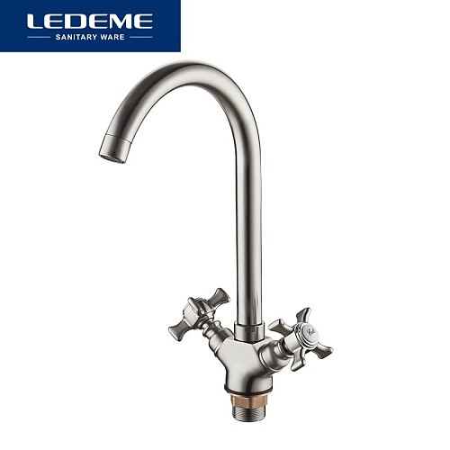LEDEME Kitchen Faucet Dual Handle Polished Rotating 2 Holes Home Taps Thermostatic Mixer Mounted  L4311A-2