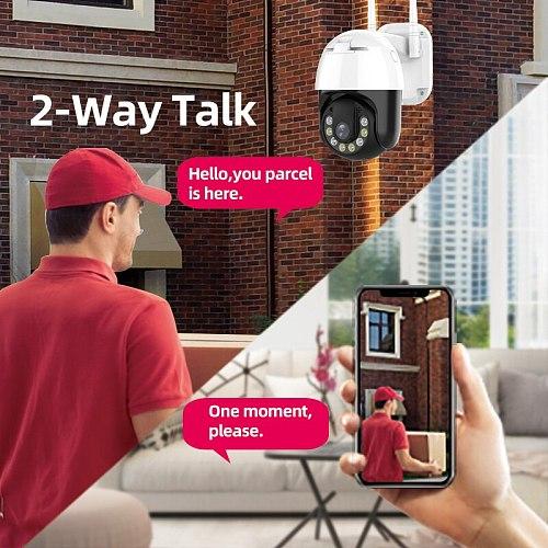 3MP PTZ Wireless IP Camera Waterproof 4X Digital Zoom Speed Dome Super 1296P WiFi Security CCTV Audio Cam