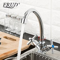 FRUD New Arrival Kitchen Faucet Mixer Double Handle Single Hole Sink Faucet Mixer Cold and Hot Water Kitchen Tap Mixer R40112