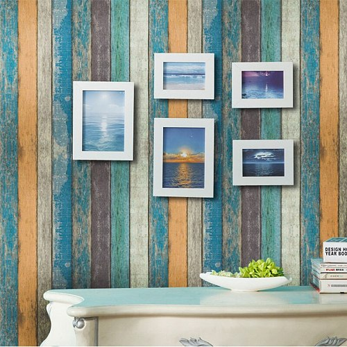 45cm*100cm Vintage Colorful Wood Stripe Wallpaper PVC Self Adhesive Waterproof Wall Papers Home Decor Living Room Wall Decals