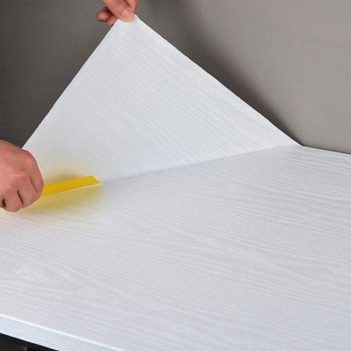3D PVC Self-adhesive Wallpaper Thick White Oak Wallpaper Self-adhesive Waterproof Wallpaper Cabinet Wood Grain Stickers