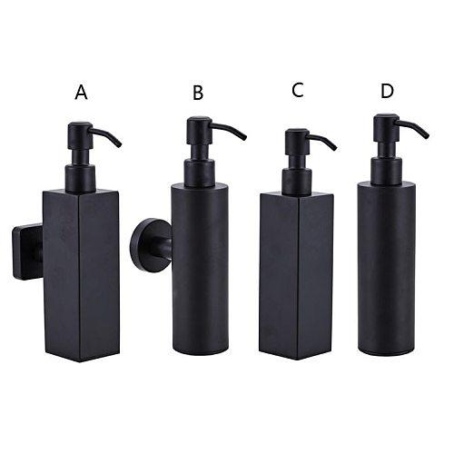 200ml Wall Mounted Shower Bottle Pump Stainless Steel Shampoo Dispenser Black