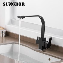3 Way Drinking Water Faucet Water Filter Purifier Kitchen Faucet Black Hot Cold Mixer Basin Tap 360 Swivel Kitchen Faucet 0178H