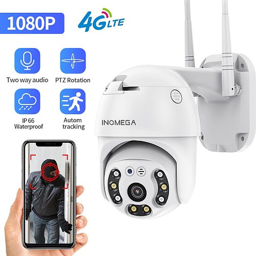 INQMEGA 4G Camera WIFI 2MP 1080P PTZ Camera Dome Wireless GSM SIM Card IP Camera Security Outdoor CCTV P2P IR Night Vision 30M