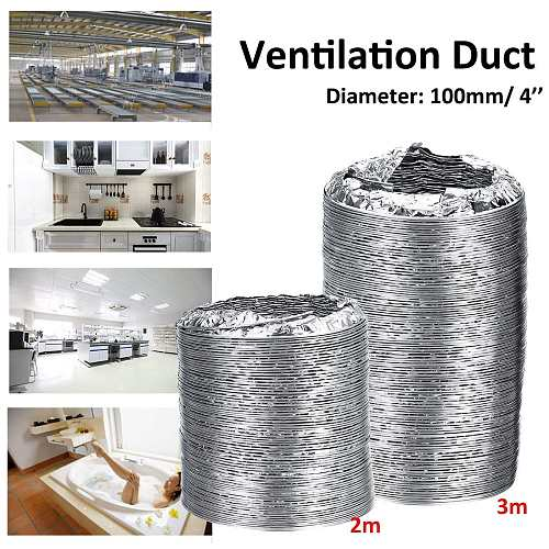 100mmx3m Length 4 inch Aluminum Tube Ventilation Hose Exhaust Fan Pipe Duct Flexible Soft Tube Air Duct Ventilation Hose