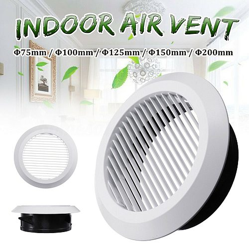 Air Vent Grille Circular Indoor Ventilation Outlet Duct Pipe Cover Cap 75mm/100mm/125mm/150mm/200mm For Bathroom Kitchen Office