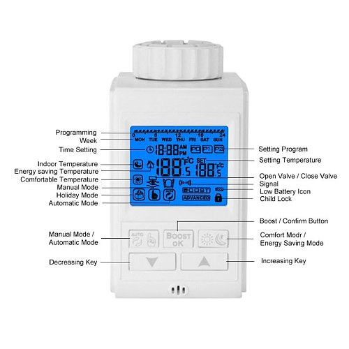 Programmable Thermostat Timer TRV Thermostatic Radiator Valve Actuator Thermostat Heater Thermoregulator Temperature Controller